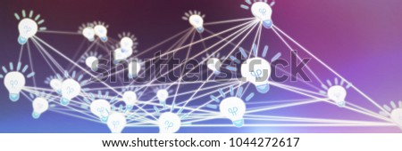 Abstract image of light bulbs against gray and purple background #1044272617