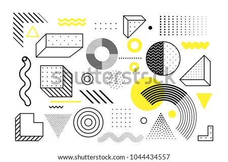 Universal trend halftone geometric shapes set juxtaposed with bright bold yellow elements composition. Design elements for Magazine, leaflet, billboard, sale #1044434557