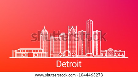 Detroit city white line on colorful background. All Detroit buildings - customizable objects with opacity mask, so you can simple change background. Line art.