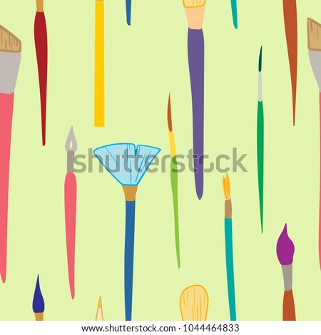 Artists brushes seamless pattern, vector hand drawn colored illustration, doodle style on light green background #1044464833