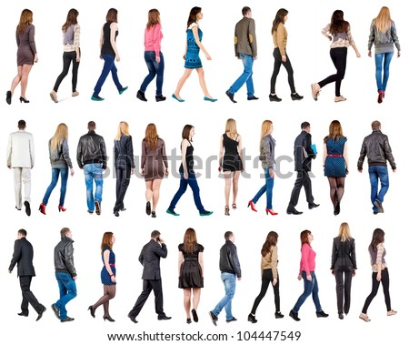 "collection "" back view of walking people "". going people in motion set.  backside view of person.  Rear view people collection. Isolated over white background. #104447549"