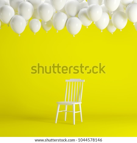 White chair with floating white balloons in yellow background room studio. minimal idea creative concept. #1044578146