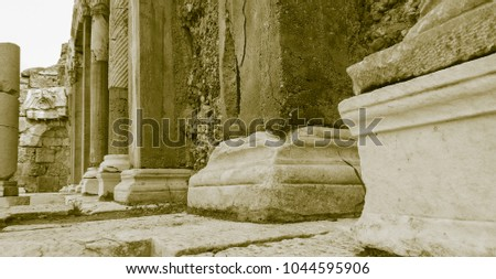 Old style photo of Side ruins #1044595906