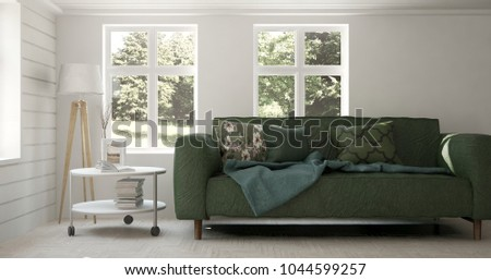 Idea of white room with sofa and summer landscape in window. Scandinavian interior design. 3D illustration #1044599257