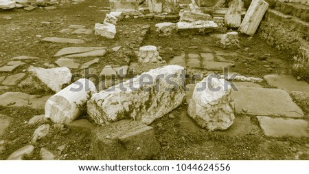 Old style photo of Side ruins #1044624556