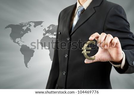 Euro symbol in businessman hand