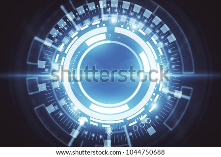 Abstract digital button background. Technology and interface concept. 3D Rendering  #1044750688