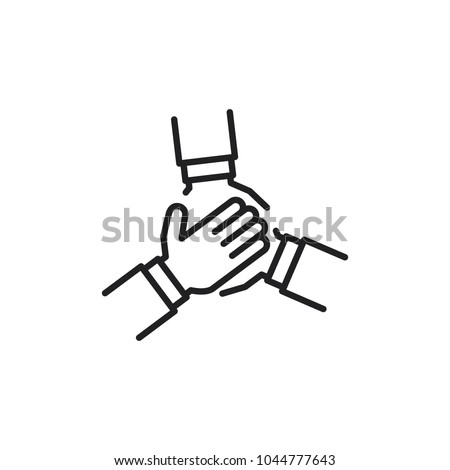 team hands together, business partnership concept, line icon vector Royalty-Free Stock Photo #1044777643