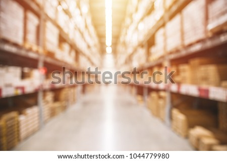 Blur Warehouse inventory product stock for logistic background #1044779980