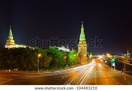 View of Moscow Kremlin in night. Russia #104483210