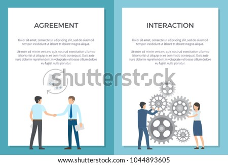 Agreement and interaction set of posters with text. Vector illustration of successful men shaking hand along with two employees spinning gear wheels #1044893605
