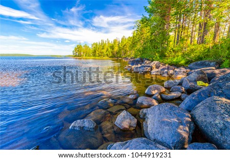 Forest river shore boulders landscape Royalty-Free Stock Photo #1044919231