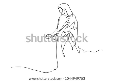 Continuous line drawing of Jesus Christ , linear style and Hand drawn Vector illustrations
