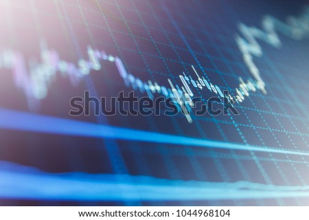 Forex market charts on computer display. Business analysis diagram. Candle stick graph chart. Share price candlestick chart. Fundamental and technical analysis concept. Price chart bars.  #1044968104
