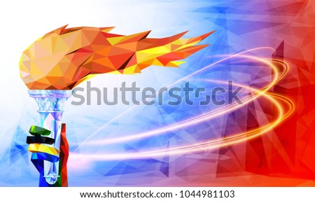 Torch, Flame. Olympic games, Tokyo 2021. football olympic world championship cup background soccer. Vector illustration.