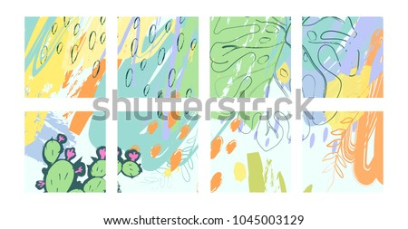 A set of creative universal flower cards in tropical style. Green summer background. Suitable for wedding card, anniversary, birthday, party Invitation. Vector illustration. #1045003129
