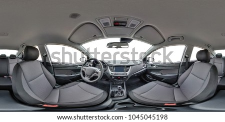 360 angle panorama view in leather interior of prestige modern car. Full  seamless equirectangular equidistant spherical panorama 360 by 180 degrees. vr ar content