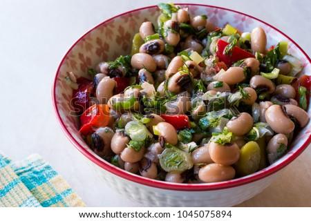 Kidney Bean Salad with Tomatoes, Parsley and Dill / Borulce Salatasi / Salata. #1045075894