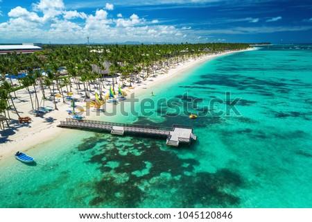 Aerial drone view of Caribbean resort Bavaro, Punta Cana, Dominican Republic  #1045120846