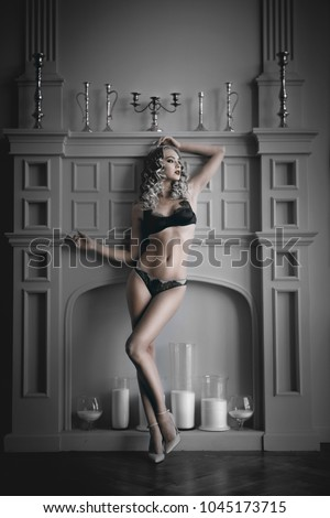 beautiful blonde in underwear #1045173715