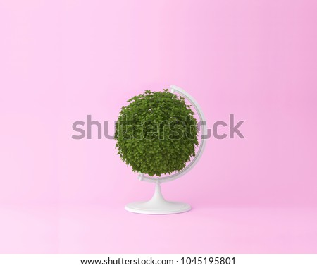 Globe sphere orb plant concept on pastel pink background. minimal idea nature. An idea creative to artwork design or World environment day concept  #1045195801