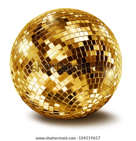 Golden disco mirror ball isolated on white background Royalty-Free Stock Photo #104519657