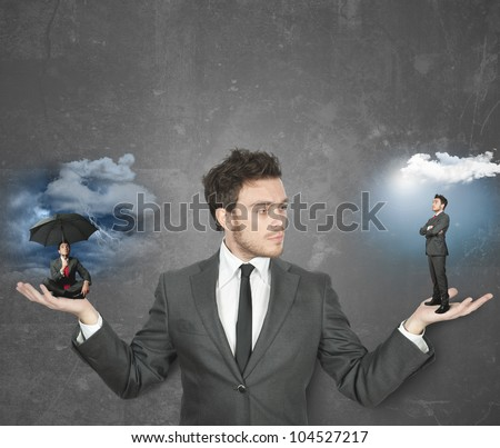 Businessman torn between being positive or negative Royalty-Free Stock Photo #104527217