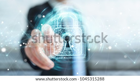 Businessman on blurred background using digital padlock with data protection 3D rendering Royalty-Free Stock Photo #1045315288