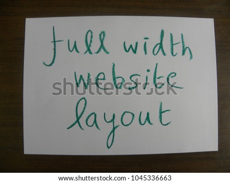 Text full width website layout hand written by green oil pastel on white color paper #1045336663