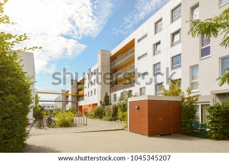 Cityscape with modern apartment buildings in a new residential area #1045345207