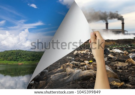 Change concept, Woman hand turning pollution page revealing nature landscape, changing reality, hope inspiration to environmental protection and environmental campaign. #1045399849