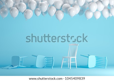 Outstanding white chair with floating white balloons in blue pastel background room studio. minimal idea creative concept. #1045409839