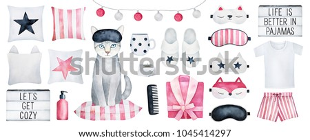 Big set of cozy bedroom elements, home clothes, antistress things, interior decor, girl accessories and text titles in light box. Hand drawn water color sketch on white background, cutout clip art.