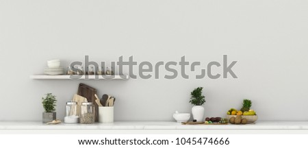 Kitchen room with fruit set. Comfort space in house. classic interior design. -3d rendering #1045474666