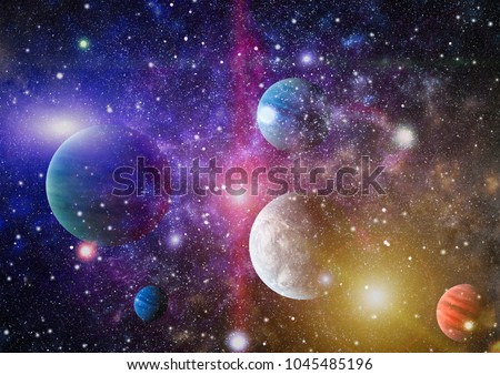 planets, stars and galaxies in outer space showing the beauty of space exploration. Elements furnished by NASA #1045485196