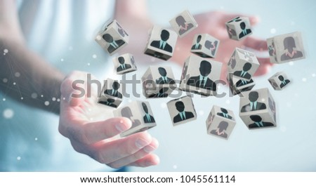 Businessman on blurred background choosing candidate for a job 3D rendering #1045561114