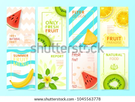 Set of fruit menu flyer design templates. Vector illustration with realistic tropical summer fruit. Brochures design for promo posters or covers in A4 format size. #1045563778