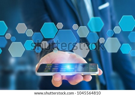 View of a 3d render empty aplication made of blue hexa button displayed on a futuristic interface #1045564810