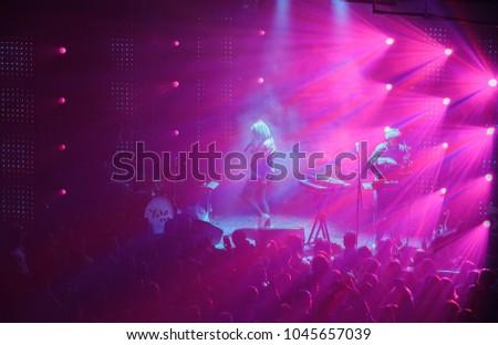 KYIV; UKRAINE-9 MARCH; 2018:Music hall concert.Electronic music festival in night club.Live set of Ukrainian indie band Yuko in nightclub Atlas #1045657039