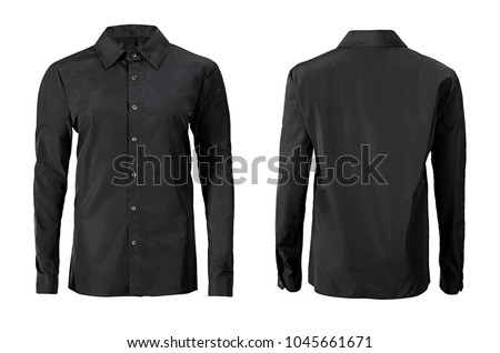 Black color formal shirt with button down collar isolated on white #1045661671