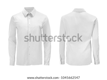 White color formal shirt with button down collar isolated on white Royalty-Free Stock Photo #1045662547
