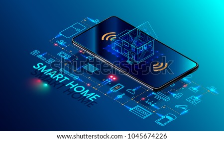 Smart home controlled smartphone. Internet of things technology of home automation system. Small house standing on screen mobile phone and wireless connections with icons home electronics devices. iot Royalty-Free Stock Photo #1045674226