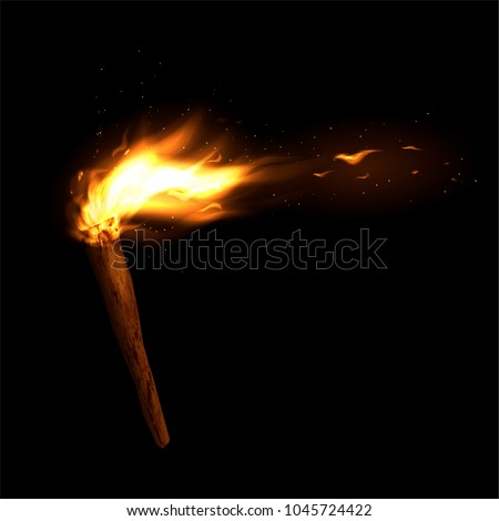 A wooden torch with a burning fire. Bright flame and sparks. Vector illustration.