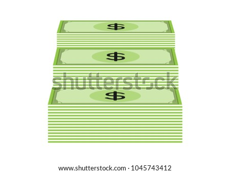 Dollar paper money icon flat design vector illustration isolated on white background. business currency