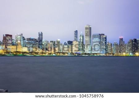 Downtown city skyline at night, Chicago, Illinois, USA