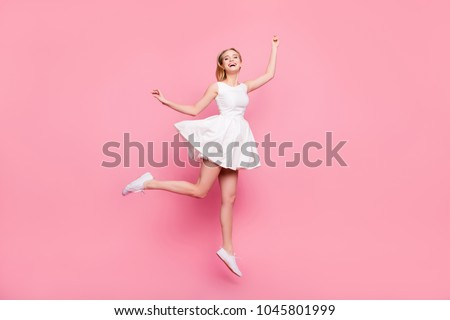 Freedom legs stylish feet glamorous people  teenager teen age restless concept. Full-length full-size portrait of excited surprised attractive careless inspired girl jumping up isolated on background #1045801999