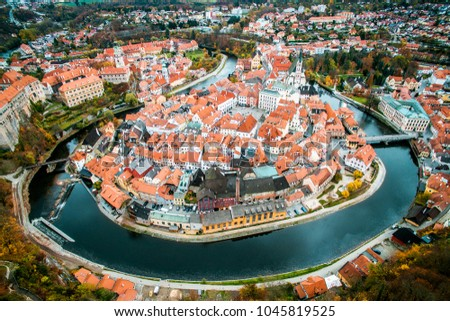 Old city view from above. Top view. Czech krumlov. Traveling through Europe. The city in Czech Republic, sights. The world around us, beautiful next door. What to see in the Czech  #1045819525