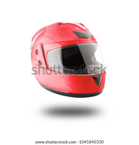 Motorcycle helmet over isolate on white background with clipping path Royalty-Free Stock Photo #1045840330