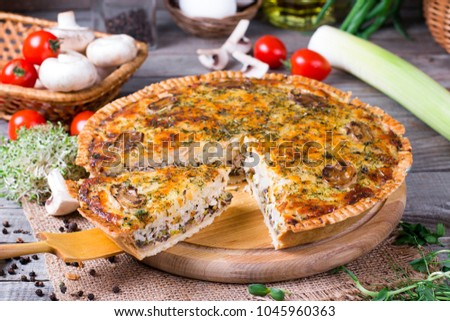 Homemade snack pie with chicken and cheese, horizontal #1045960363