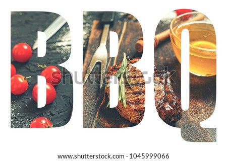 "BBQ. Abbreviation of the word ""barbecue"" with the transparency of the barbecue meal. Juicy steak-barbecue. #1045999066"